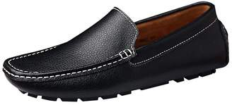 rismart Men's Soft Split Grain Leather Driving Loafer Shoes Comfortable Moccasins Slippers Boat Shoes SN9100