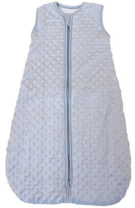 """Minky Baby in a Bag Baby sleeping bag Dot"""" blue, quilted and double layered, 2.5 Togs"""