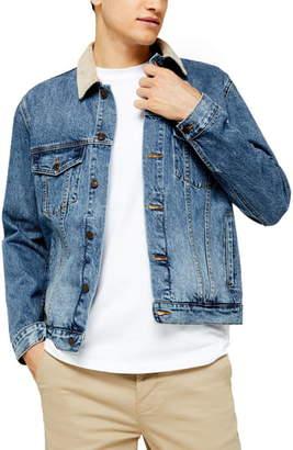 Topman Corduroy Collar Classic Fit Denim Jacket