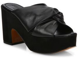 Robert Clergerie Esther Leather & Suede Platform Mules $595 thestylecure.com
