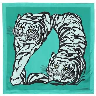Valentino Tiger print silk scarf
