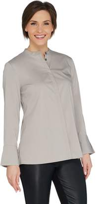 Halston H By H by Long Sleeve Stretch Poplin Button Front Shirt