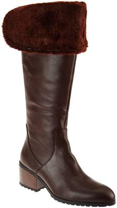 Halston H By H by Leather Over-the-knee Boots with Faux Fur - Donna
