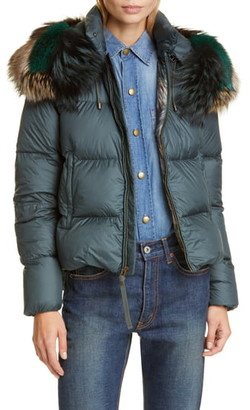 Mr & Mrs Italy Quilted Down Puffer Coat with Genuine Fox Fur Trim
