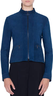 Akris Punto Zip-Front Stand-Collar Suede Jacket