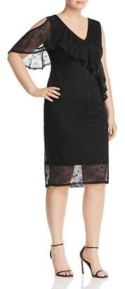 Lost Ink Plus Lost Ink Mesh-Lace Ruffle-Trim Dress