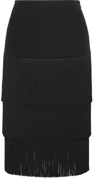 Michael Kors Collection - Fringed Crepe Skirt - Black