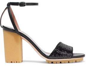 RED Valentino Smooth And Glittered Leather Sandals