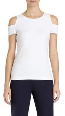Lafayette 148 New York Swiss Ribbed Cold-Shoulder Top