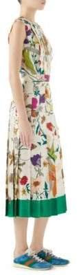 Gucci Silk Twill Floral Pleated Midi Dress