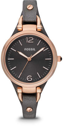 Fossil Georgia Smoke Leather Watch