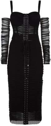 Dolce & Gabbana Ruched Corset Midi Dress