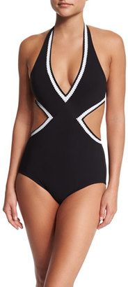 Karla Colletto Pinking Halter Monokini One-Piece Swimsuit $304 thestylecure.com