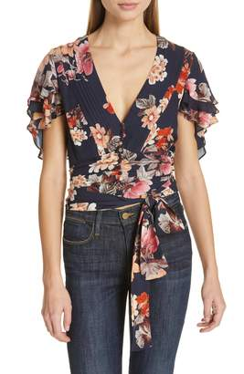 Nicholas Floral Print Layered Silk Crop Top