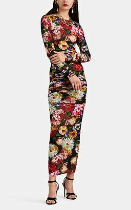 Dolce & Gabbana Women's Floral Jersey Fitted Dress - Black