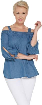 GRAVER Susan Graver Chambray Off-the- Shoulder Tunic