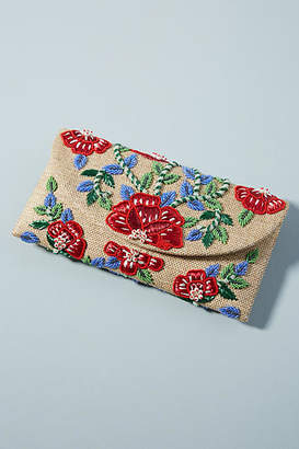 Anthropologie Floral Vines Embroidered Clutch