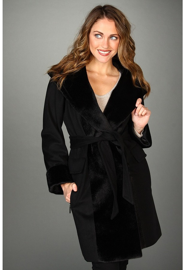 Hilary Radley Faux Fur Trim Hooded Coat (Black) - Apparel