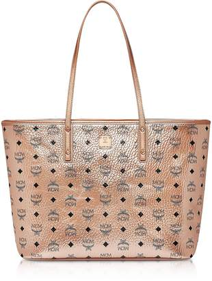 MCM Champagne Gold Visetos Medium Anya Top Zip Shopper