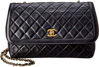 Chanel Navy Quilted Lambskin Leather Medium Border Single Flap Bag