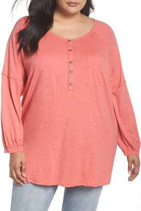 Caslon R R) Relaxed Henley Tee (Plus Size)