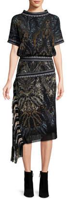 Fuzzi Paisley-Print Tulle Blouson Dress w/ Asymmetric Fringe