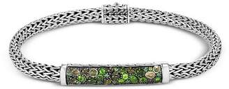 John Hardy Sterling Silver Classic Chain Extra Small Bracelet with Green Tourmaline, Chrome Diopside & Peridot