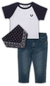 True Religion Baby's Three-Piece Tee, Jeans & Bandana Set $89 thestylecure.com