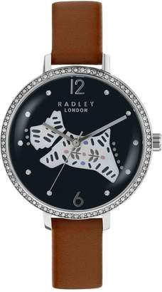 Radley Black and Silver Dog Jewelled Dial Tan Leather Strap Ladies Watch