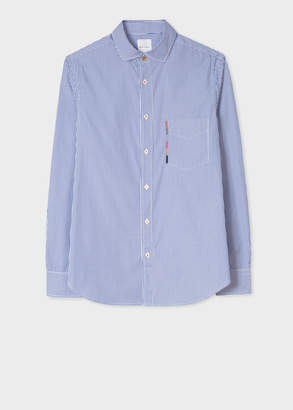 Paul Smith Men's Tailored-Fit Blue And White Stripe Shirt With 'Artist Stripe' Pocket Embroidery