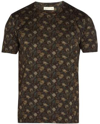 Etro Floral Print Cotton T Shirt - Mens - Brown Multi