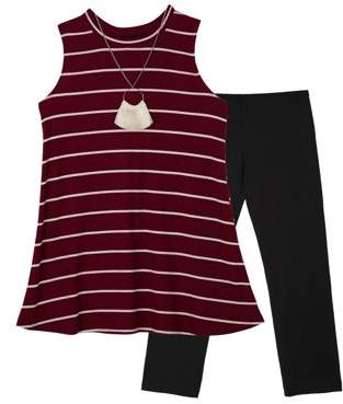 Amy Byer Striped Sleeveless Tunic & Legging, 2pc Outfit Set with Necklace (Big Girls)