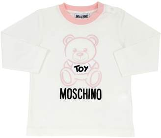 Moschino Flocked L/S Cotton Jersey T-Shirt