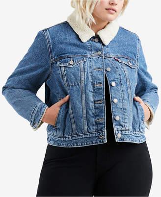 Levi's Plus Size Cotton Fleece-Trimmed Trucker Jacket