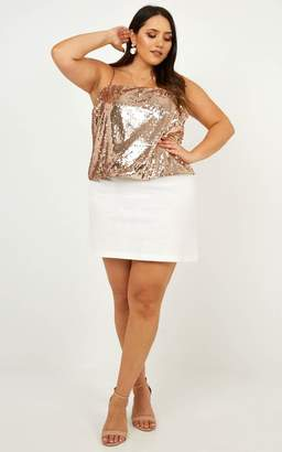 Showpo Unruly Charmer Top in rose gold sequin - 8 (S) Crop Tops
