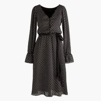 J.Crew Long-sleeve polka dot dress