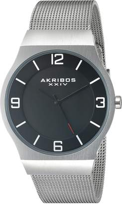 Akribos XXIV Men's AK851SSB Round Black Dial Three Hand Quartz Bracelet Watch