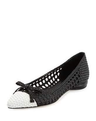 Delman Shana Woven Cap-Toe Ballerina Flat, Black/Chalk $298 thestylecure.com