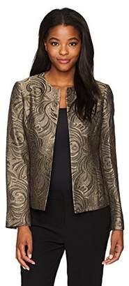 Kasper Women's Foil Printed Jacquard Flyaway Jacket