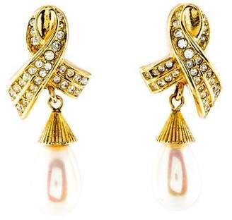 Christian Dior Faux Pearl & Crystal Drop Earrings