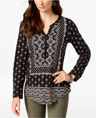 Style&Co. Style & Co Mixed-Print Roll-Tab-Sleeve Top