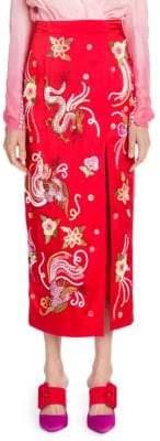 ATTICO Satin Embroidered Pencil Skirt