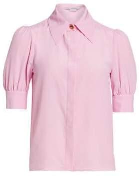 Stella McCartney Puff Short-Sleeve Silk Button-Down Shirt
