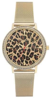 Vince Camuto Women's Leopard Pattern Mesh Bracelet Watch, 34mm