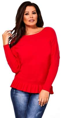 Jessica Wright Sistaglam Love Jessica - Red 'Barbara' Long Sleeve Frill Knitted Jumper