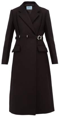 Prada Metal Buckle Single Breasted Wool Coat - Womens - Black