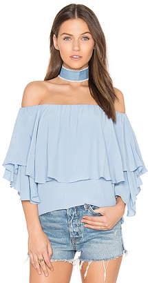 MLM Label Maison Shoulder Top in Baby Blue $143 thestylecure.com
