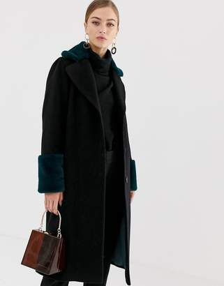 Helene Berman double breasted coat with contrast faux fur collar and cuffs
