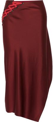 DKNY - Lace-up Satin Midi Skirt - Merlot $600 thestylecure.com