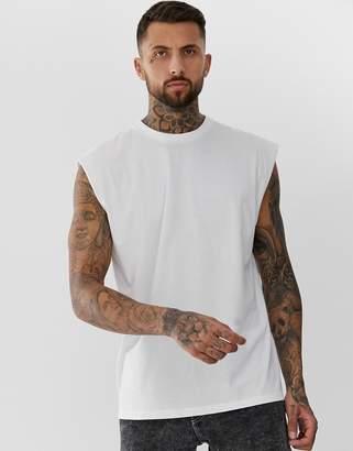 dd9c8f6d10e8a Asos Design DESIGN oversized longline sleeveless t-shirt in white
